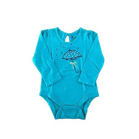 Body Baby Gap Manga Longa Verde Guarda-chuva