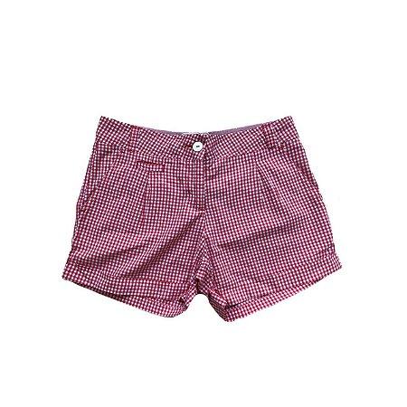 Shorts RICHARDS Feminino Xadrez Branco e Vermelho