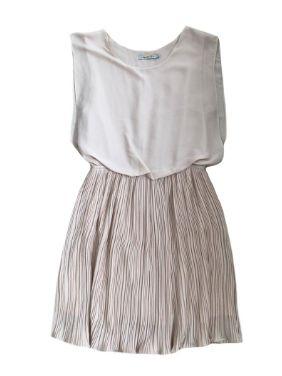 Vestido TRETTIORE Areia com a Saia Plissada