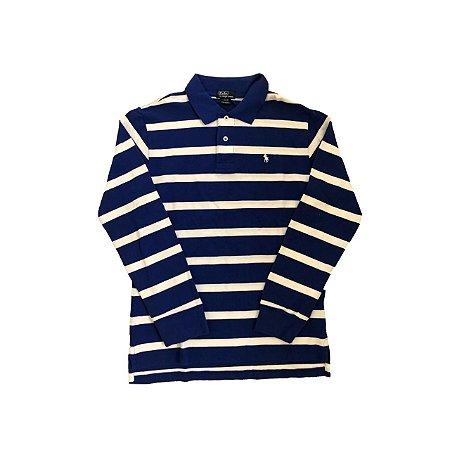 Camiseta Polo RALPH LAUREN Infantil Listrada Azul Bic e Branca Manga Longa