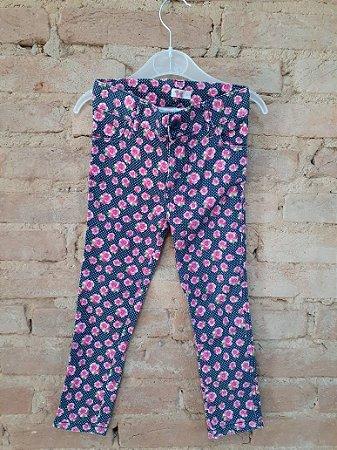 Calça Legging TEK Azul Marinho com Flores Pink