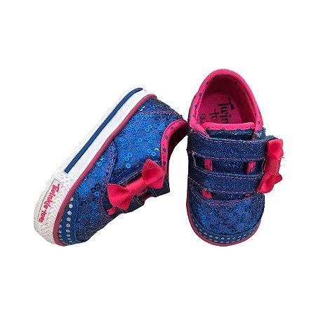 Tênis SKECHERS Infantil Azul e Pink