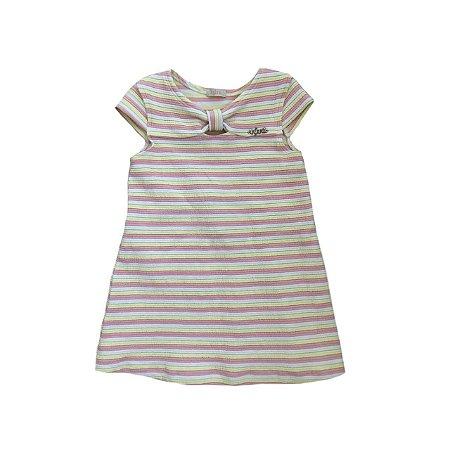 Vestido INFANTI Infantil Listrado Rosa, Amarelo e Off White