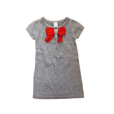 Vestido GYMBOREE Cinza em Tricô com Laço Vermelho