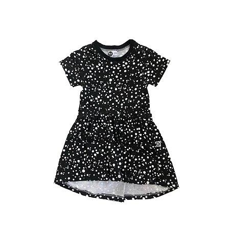 Vestido MINI MALISTA Infantil Preto com Bolas Brancas