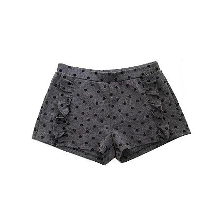 Shorts Infantil Cinza com Bolinhas Pretas
