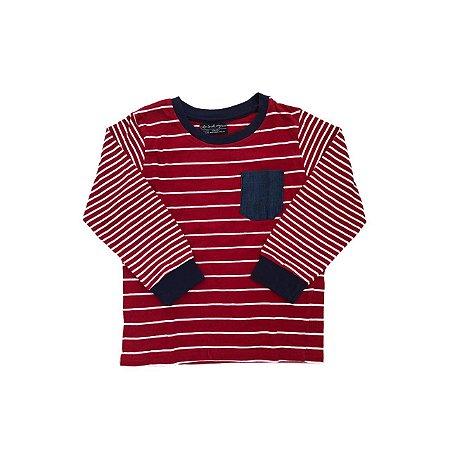 Camiseta L and L Vermelha com Listras Brancas