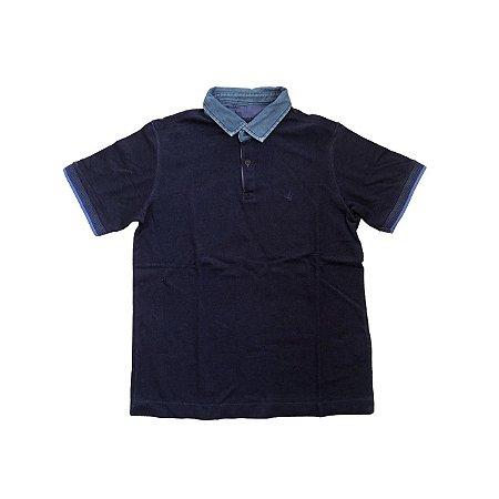 Camiseta Polo BROOKSFIELD Infantil Marinho com Gola Jeans
