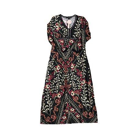 Vestido Longo MOB Preto com Estampa Floral Manga Longa