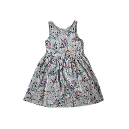 Vestido H&M Cinza com Unicórnios