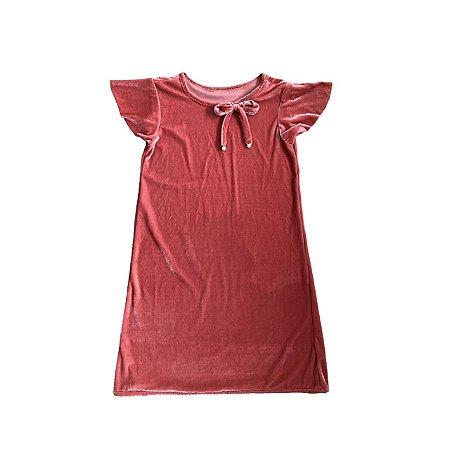 Vestido Infantil Rosê Veludo Molhado
