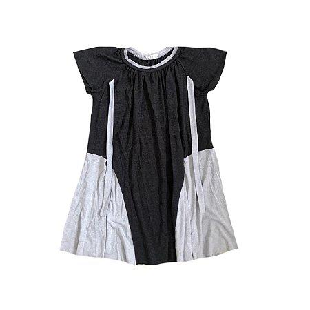 Vestido NiNA Infantil Cinza e Preto em Malha
