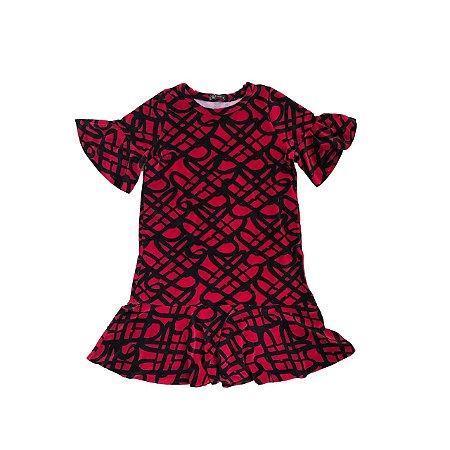 Vestido NINA Infantil Vermelho e Preto em Veludo Molhado