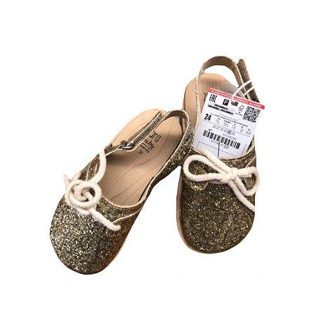 Sapato Zara Baby Dourado com Brilho com Etiqueta