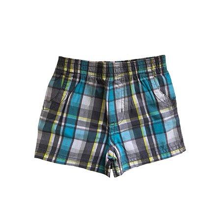 Shorts GARANIMALS Xadrez Azul, Cinza e Amarelo