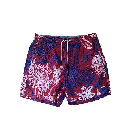 Shorts RICHARDS Estampado em Vermelho e Azul Nylon