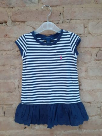 Vestido RALPH LAUREN Infantil Listras Azul e Branco