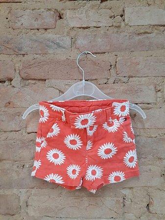 Shorts TOMMY HILFINGER Infantil Laranja com Flores Brancas