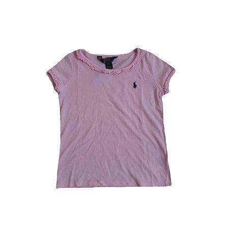 Camiseta RALPH LAUREN Rosa Claro com Babados