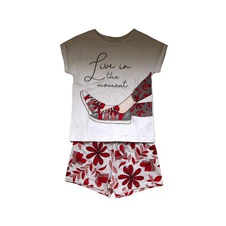 Conjunto MILON Shorts Estampado e Camiseta Bordada