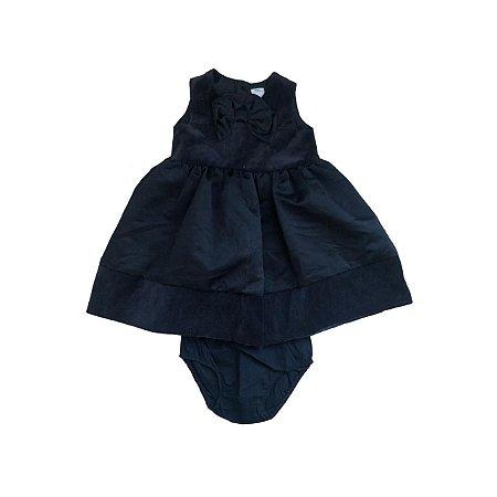 Vestido CARTER'S Infantil Preto Veludo e Cetim