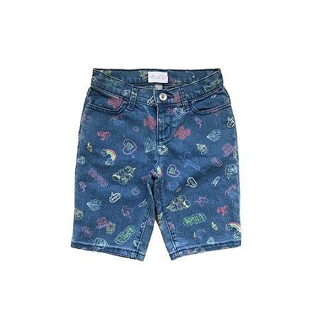 Bermuda Jeans PLACE Infantil Desenhos Coloridos