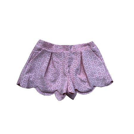Shorts Saia ZARA Infantil Rosa Claro em Suede