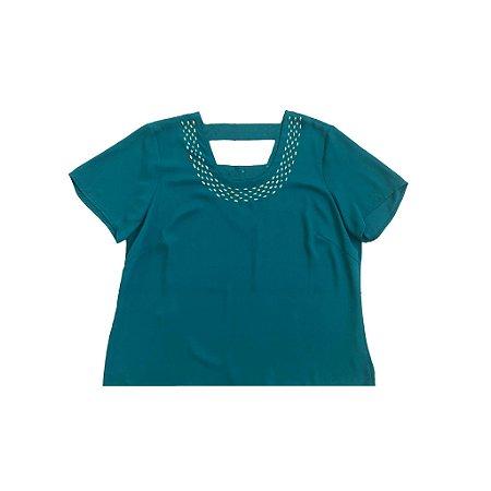 Blusa Verde com Apliques em gola