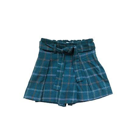 Shorts Saia ZARA Infantil Verde Xadrez