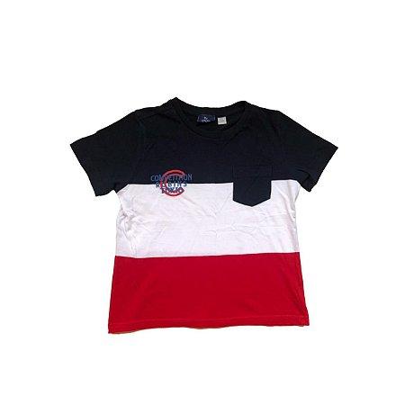 Camiseta CHICCO Infantil Azul, Branca e Vermelha