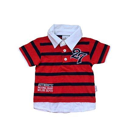 Camiseta Polo MILON Infantil Listras Vermelhas e Azuis 27