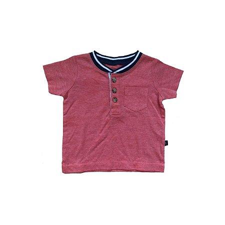 Camiseta OSHKOSH Infantil Vermelha Gola Azul e Botões