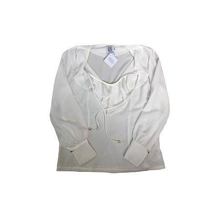 Camisa Branca DIDI Crepe com Babados e Fenda na Manga