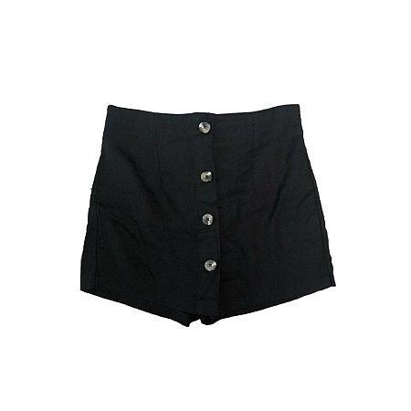 Shorts Saia YESSICA Linho Preto com botões