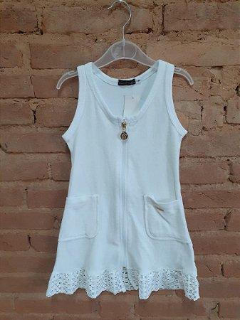 Vestido DANIELA TOMBINI Infantil Branco Atoalhado com Zíper