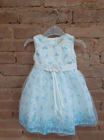 Vestido Festa MINI WORLD Infantil Branco com Flores Azul