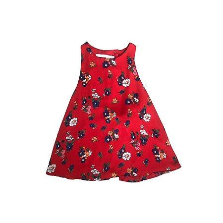 Regata Zara Vermelha Florida com Decote nas costas
