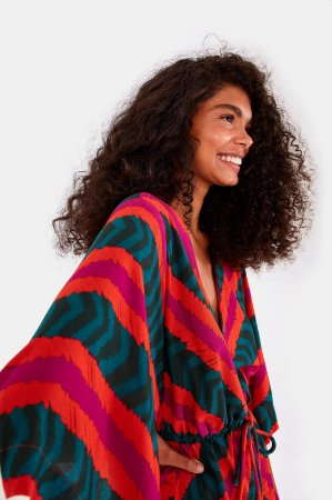 Blusa Kimono Folhagem Gráfica Listra Farm
