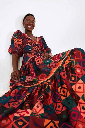 Vestido Cropped Mosaico Gráfico Farm