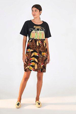 Vestido Curto Tucano Onça Silk Farm