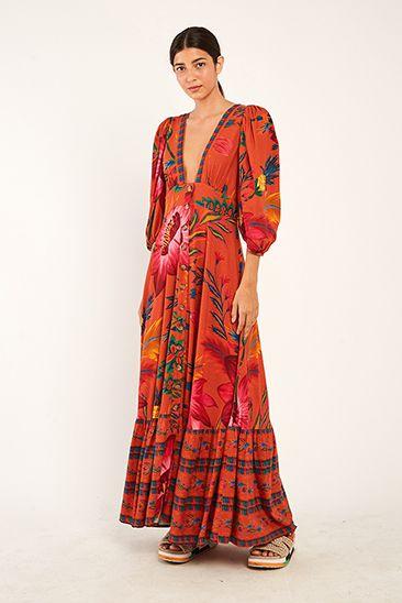 Vestido Cropped Maxi Floral Bold Farm