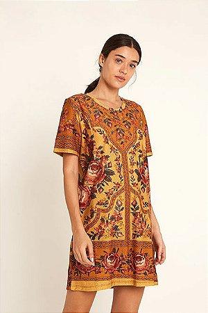 Vestido T-shirt Floral Ponto Cruz Farm