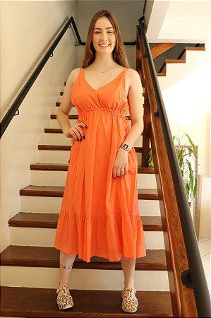 Vestido de Voil Decote V Detalhe Colisse Animale