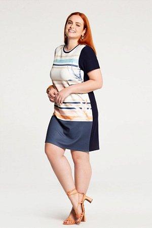 Vestido Estampado Plus Size Marinho Lunender