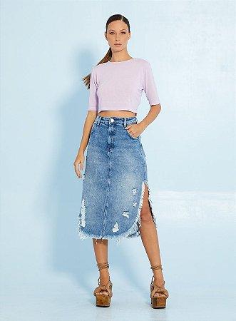 Saia Midi Jeans Indigo Open