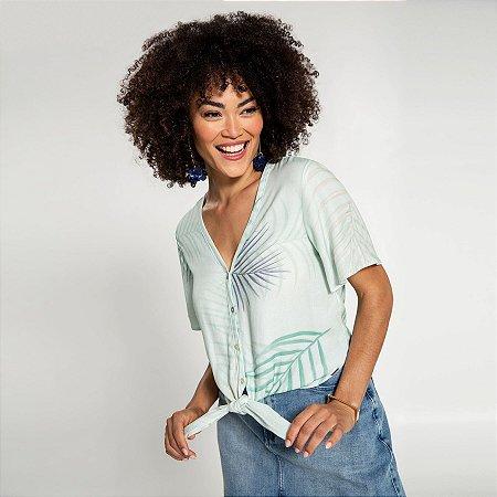 Camisa Tecido Rayon Azul Acquario Lunender
