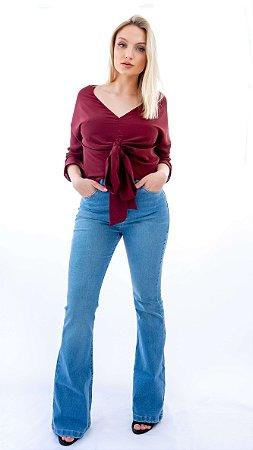 Calça Flare Basic Jeans Azul Claro FYI