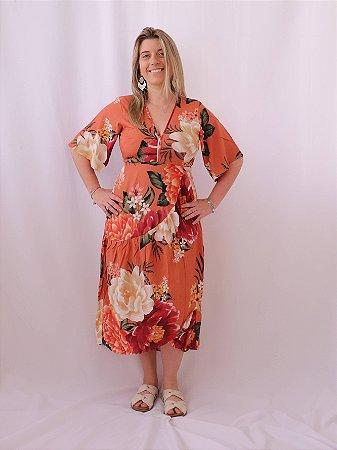 Vestido Transpasse Dança Floral Farm
