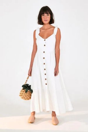 Vestido Midi de Botoes Off White Farm