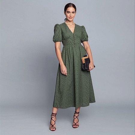 Vestido Laise Flores Midi Verde Clorofila Lez a Lez